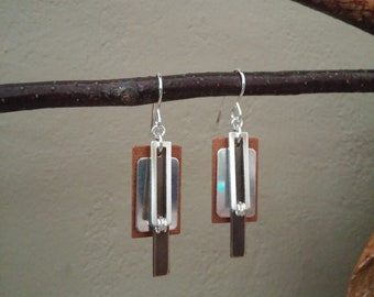 Rectangle Earrings, Four Rectangles, Sterling Rectangles, Artisan Copper Rectangles, Aged Brass Rectangles, Geometric, Unique Dimension