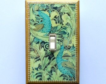 Peacock Switchplates & MATCHING SCREWS- Peacock wall decoration peacock switchplate peacock wallpaper peacock art trading card peacock print