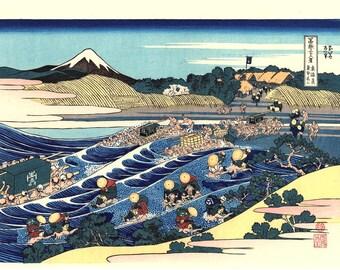 "Japanese Ukiyo-e Woodblock print, Katsushika Hokusai, ""Tama River in Musashi Province, Thirty-six Views of Mount Fuji"""