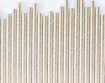Solid Silver Foil Paper Straws, Silver Foil Stripe Paper Straws, Silver Cake Pop Sticks, Silver Paper Straws, Silver Wedding Paper Straws