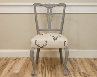 Dining chair vintage grey pattern deer vintage retro glamour