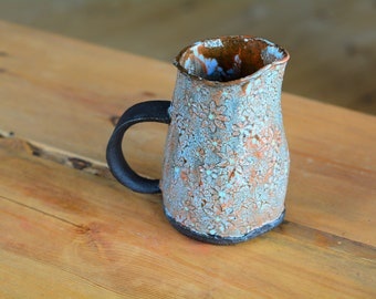 Gift for her, Ceramic Jug, Pitcher, Vase, Baby Blue, Rusty Orange, Jag with Handle, Serving Container, Storing Container, Chameleon Series