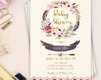 boho baby shower invitation, girl baby shower invitation, boho shower invitation, bohemian baby shower invitation, printable invitation