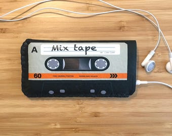 Personalised Orange Cassette Tape Felt iPhone Sleeve, iPhone X Case, iPhone 8 Case, iPhone 7 Case, iPhone 6/6S Case, iPhone SE Sleeve