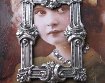 Sterling Silver Ox Plated Neo Classical Ornate Brass FrameStamping 29SOX x1