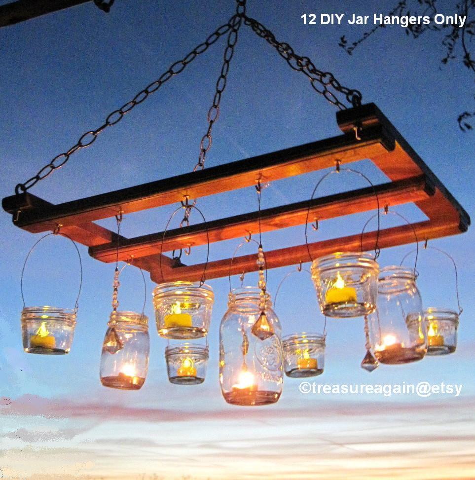 Mason jar chandelier diy candles lanterns luminaries wide zoom arubaitofo Images