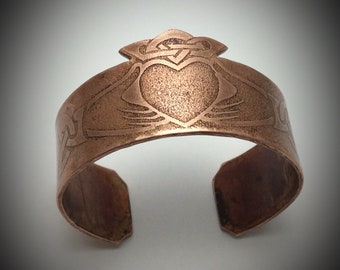 Claddagh Design Hammered Recycled Copper Cuff