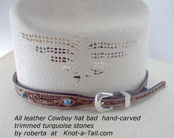Leather hat band, Cowboy hat band, hand-craved leather, hat band, leather Cowboy hat band, Silver side buckle set, Western hat band,