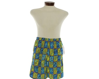 Vintage NOS 90s Swim Trunks Board Shorts Mens Summer Swimwear Fashion 1990s Multicolored Tiki Hawaiian Swim Trunks CAMPUS Medium M