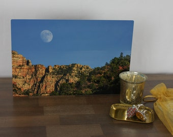 Moon Rising, Original Photograph on Metal, 8x12, one-of-a-kind