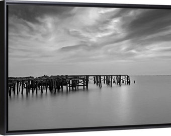Breach Point, Docks New Orleans fine art Black and White photograph on canvas.