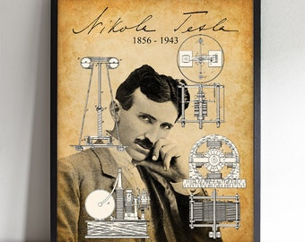 Nikola Tesla Portrait - Printable Art - Great Gift for Tesla Enthusiasts - Instant Download