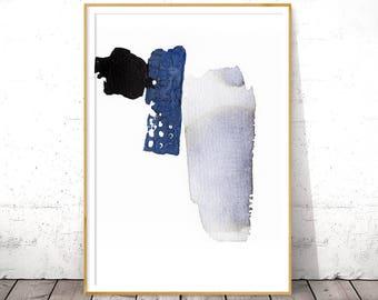 Indigo Wall Art, Blue Abstract Print, Digital Download, Printable Art, Digital Art Print, Watercolor Poster, Navy Art Print, Navy Blue Decor