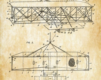 Wright Brothers Airplane Patent - Vintage Aviation Art, Airplane Art, Airplane Blueprint, Pilot Gift, Aircraft Decor, Airplane Poster