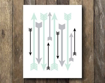 Instant Download Arrow Printable - Mint and Gray Nursery Art