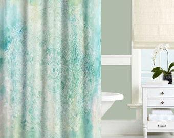 Aqua Shower Curtain, Blue, Turquoise, Mint Bathroom Decor, Bathroom Curtains,  Mandala