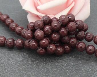 20 dark chocolate color 6 mm PEJ159 Mashan jade beads