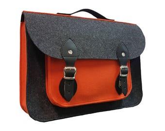 Felt Laptop bag with pocket, macbook sleeve, Laptop case, leather bag, meddenger bag, free shipping, valentine's day, shoulder bag