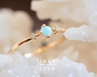 "14K Gold Opal & Diamond Ring, ""Moonlight Drive"" Ring, Diamond Ring, Australian Opal, Prong, Solid Gold, Dainty Jewelry, Stacking Ring, Boho"