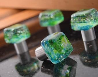 small knob/ Miniature Green Glass Knob/ tiny jewel knob/ Cabinet Knob/ Jewelry Box Knob, Green Glass Knob with Polished Silver Base