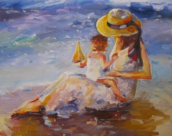 SETTING SAIL Print of Original Oil Painting, mother and baby on beach