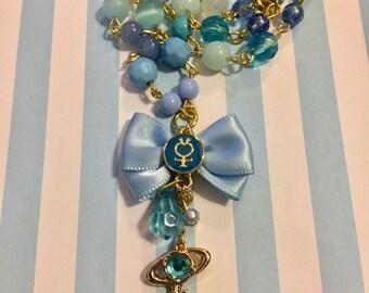 Sailor Mercury // Beaded Bow Necklace