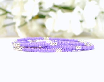 Layering Bracelet Purple 3 Wrap Bracelet Lavender Multi-Layered Bracelet Purple Stacking Bracelet Beaded Bracelet 21-24 inch Handmade