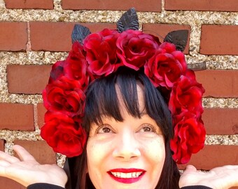 ROSE  Head Dress Artifical Red Roses Full Bloom Deep Red Black