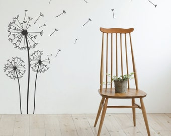 Dandelion Wall Decal - Wall Stickers Blowing Away In The Wind Vinyls Flower Nature Living Room Bed Room Art