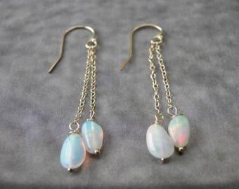 Women's Earrings / Ethiopian Opal Earrings / 14K Gold or Sterling Silver Finish / Valentine's Day Gift / Handmade Earrings