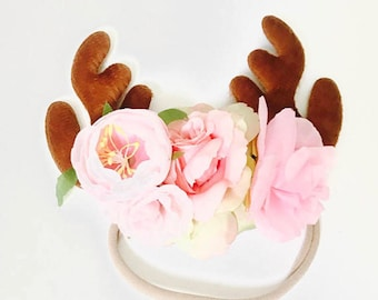 reindeer headband, reindeer flower headband,reindeer flower crown,glitywr reindeer headband,brown reindeer headband,reindeer ears,girl ears