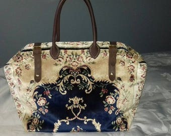 Weekend/Overnight Handmade Blue and Gold Coloured Plush Persian Style Carpet Bag/Mary Poppins Bag
