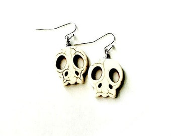 Skull Earrings Howlite stone Day of the Dead wire wrapped  Handmade Gift