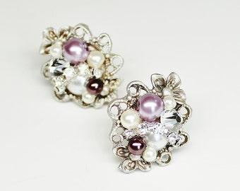 Purple Stud Earrings- Bridal Studs- Pearl and Rhinestone Studs- Purple Post Earrings- Purple Clip Earrings- Eggplant Earrings- Brass boheme