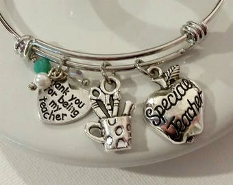 Gift for Teacher - Teacher gift - Favorite teacher - thank you gift for teacher - bangle bracelet - charm bracelet - special teacher gift
