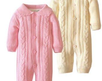 Baby Winter Romper Boy Girl Lovely Knitted Cotton & Fleece Long Sleeves Light Pink Light Yellow