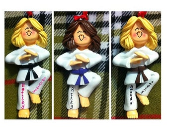 Personalized Female Karate Taekwondo -Karate/Martial Arts Cake Stand/Magnet/Ornament - Customize Belt Color, Hair Color & Skin Tone