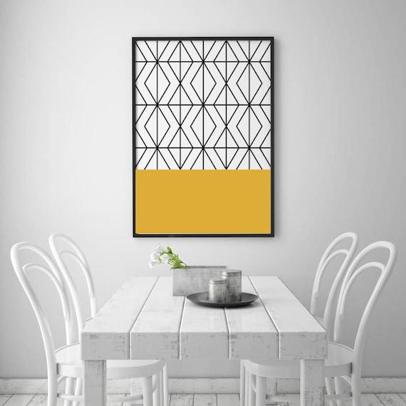 Printable Art Yellow Print Scandinavian Art Geometric