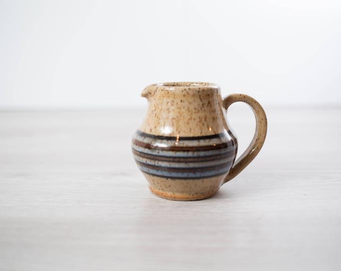 Vintage Ceramic Creamer / Earth-tone speckled Coffee Cream Dispenser with Stripe Pattern