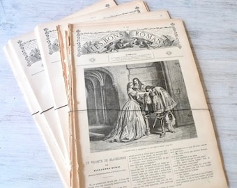 Paper Pack, 20 Book Pages, Illustrated French Stories, Antique Paper Ephemera, Scrapbooking, DIY Craft, Vintage Paper Bundle, Large