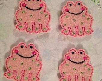 Pink Felt Frog Applique Set of 4