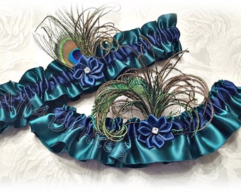 Wedding garters, navy blue and teal peacock bridal keepsake and toss garters.  Wedding or Prom garter set.