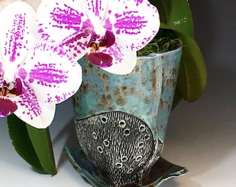 Large Orchid Pot in Blue Iron Spot Glaze, Ceramic Planter Hand Built in Porcelain Clay w/ Drainage Holes, Ceramic Planter for Orchids. 7 in.
