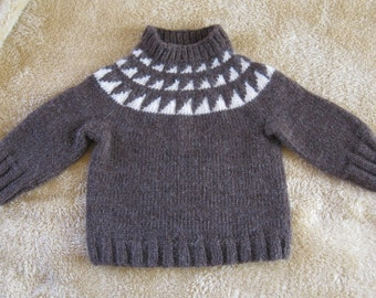 Brown and White Wool Children's Sweater