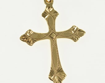 10k Ornate Patterned Dot Design Cross Christian Charm/Pendant Gold