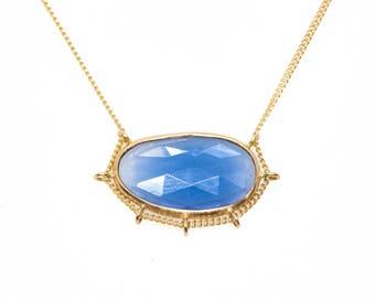14 Karat Gold Rose Cut Sapphire Cradle Necklace