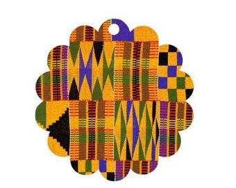 Serengeti Kente Cloth Pattern Scallop Gift Tags - 2 Sizes, Holiday Gift Tag, Christmas Gift Tag, Christmas Party Tag, Kente Fabric, Kwanzaa