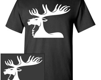 Moose Silhouette Custom T-Shirt - Men Women Youth Kids Long Sleeve Personalized Tee, Elk alaska