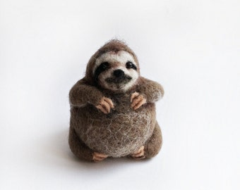 Needle felted sloth, round sloth