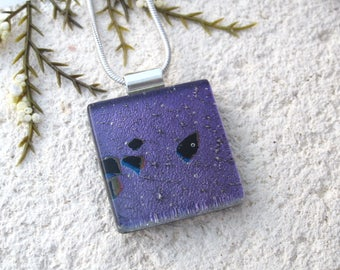Black Purple Necklace, Dichroic Glass Necklace, Fused Glass Jewelry, Dichroic Jewelry,Glass Jewelry,ccvalenzo, OOAK Necklace, 092817p105